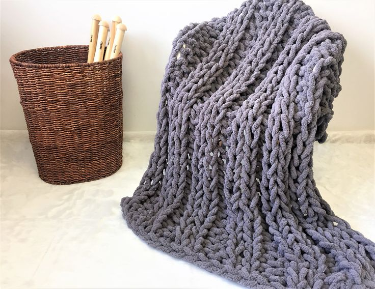 Chunky Chenille blanket, Double Ribbing pattern
