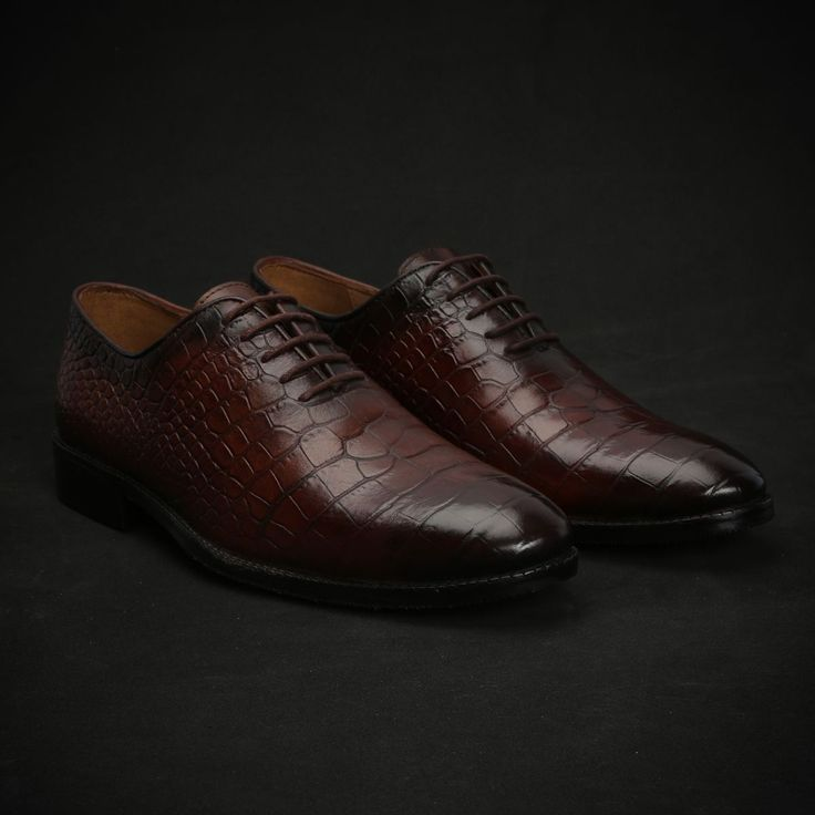 BUY BURNISHED #BROWN CROCO PRINT LEATHER WHOLE CUT #OXFORD SHOES NEW EXCLUSIVE COLLECTION BY #BRUNE