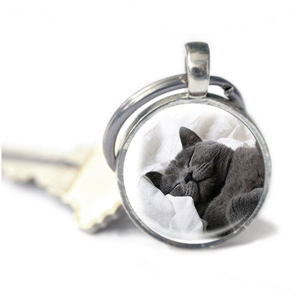 New to GlassCharmed on Etsy: Cat Keyring Key chain gift gift for cat lover / owner Keychain cat accessories cat photo keyring (10.99 GBP)