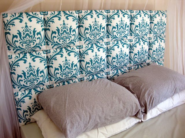 Easy Upholstered DIY Headboard Tutorial -  Like the idea with different fabric on each square ? Maybe ??