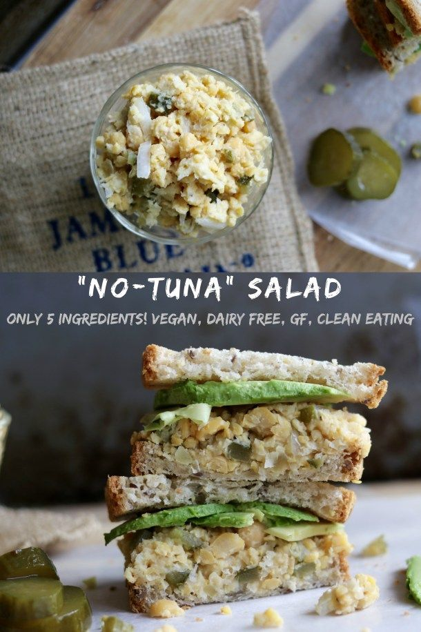 """This """"No-Tuna"""" Salad is perfect to eat on a green salad, with crackers or on a sandwich. Only 5 ingredients and 10 minutes to make! Vegan, Plant based, clean eating, vegetarian & gluten free!"""