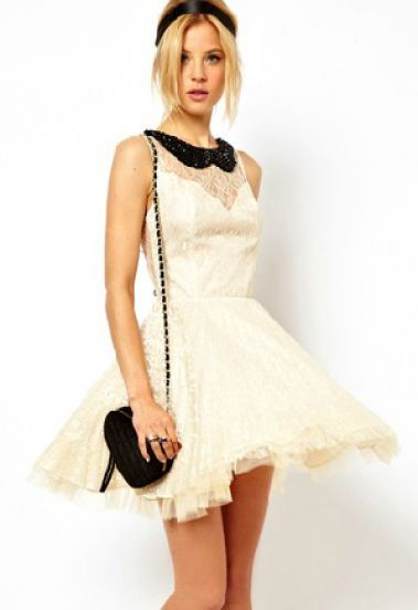 White Sleeveless Bead Sheer Lace Flare Dress pictures