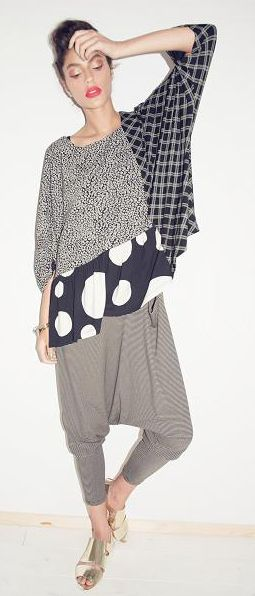 Inspiration for a version of the top in V 9067; using solids now but I like the idea of mixing prints