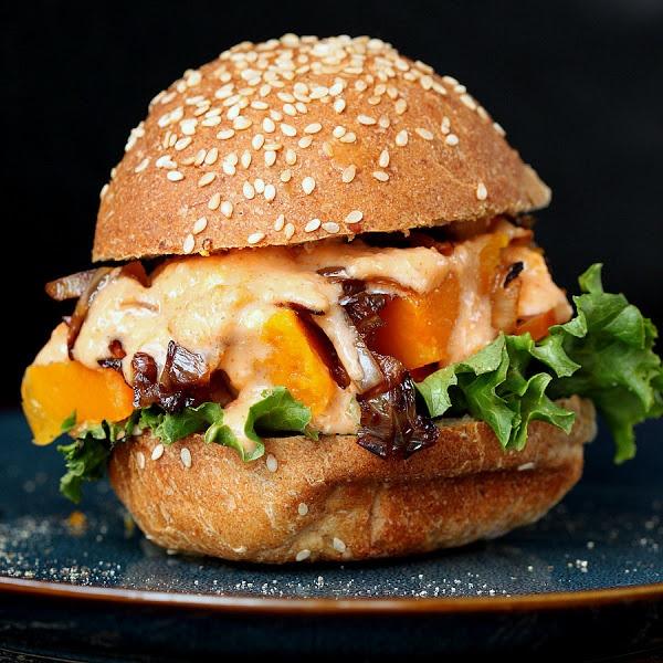 Roasted Butternut Squash Slider with Balsamic Caramelized onions, Sriracha Mayo