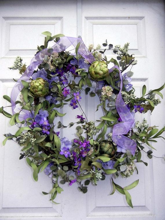 Pretty purple floral wreath.