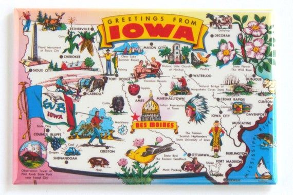 Greetings From Iowa Map Fridge Magnet Illustrated Map Iowa