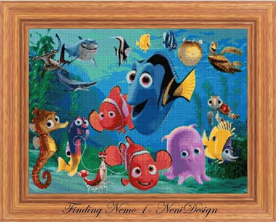 Cross stitch pattern custom made for you Finding Nemo 1 - cross stitch pattern.  PLEASE READ THE ENTIRE PAGE CAREFULLY BEFORE YOU BUY!  Computer Generated Pattern! Digital computer model - not printed on paper. This is a pattern only! Not a kit or finished piece! No fabric or floss are included in this listing!  This is NOT a finished cross stitch. The pattern includes a color legend for DMC pearl cotton. This pattern arrives as an Instant Download! A few minutes after your payment is…