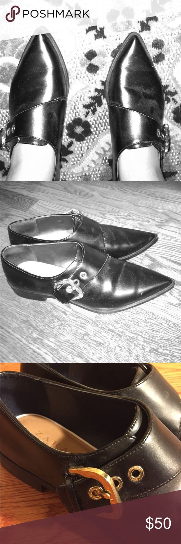 ⚫️Classy Flats⚫️ Bought them from Zara online. You close the shoe with the belt design clasp. Great condition. Looks brand new because i only wore it once or twice. Looks great for work/business casual attire. I am a size 8 and these fit perfectly. It says size 39 which Zara identified as 8. Also, on the right shoe there is a small scratch of dust or something that can be easily hidden with shoe shine. Zara Shoes