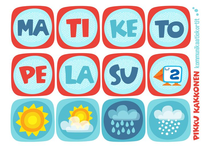 Kommunikaatiokortit | viikonpäivät I lapset | perhe | koti | arki | kalenteri | askartelu | paperi | paper | DIY ideas | communication | communication card |  days of the week I kid crafts | Pikku Kakkonen | yle.fi/lapset