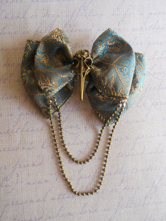 Hair bow or Brooch blue green bow bronze bird by LittleBanshees, $8.00