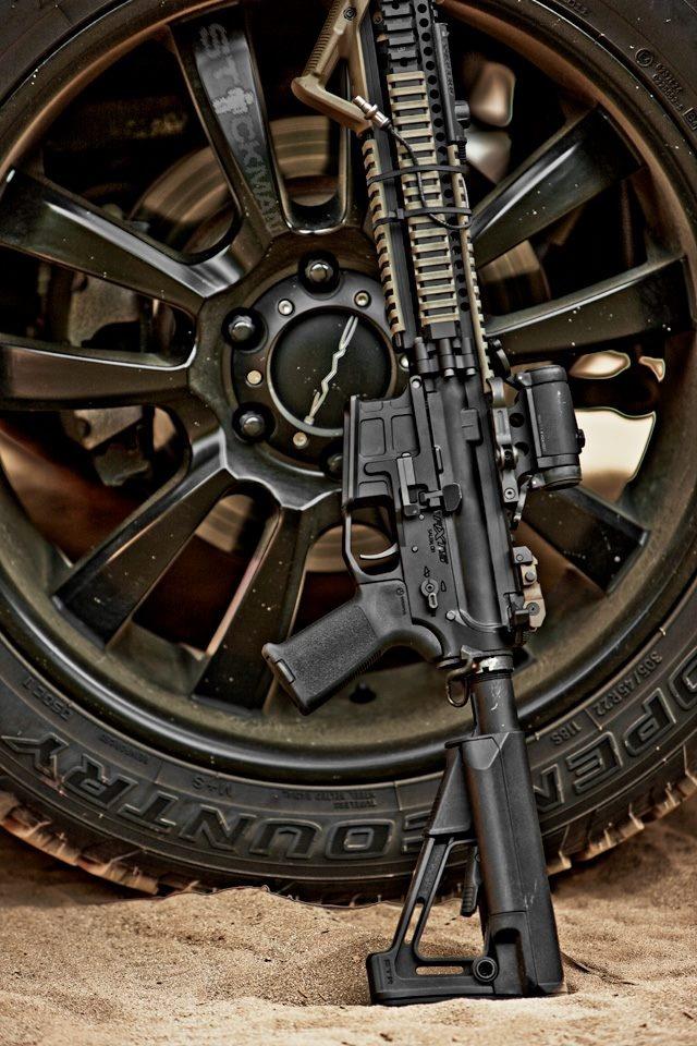 Magpul Industries Corp., RECOIL, KMC Wheels, AXTS Weapons, Daniel Defense, Aimpoint, SureFire, LLC Toyo Tires & Praetor Defense.  Photo by Stickman