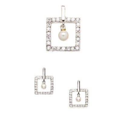 925 Silver rhodium plated set of earrings and pendant with cubic cz and synthetic pearls. Nickel Free. The price includes the full set of pi...