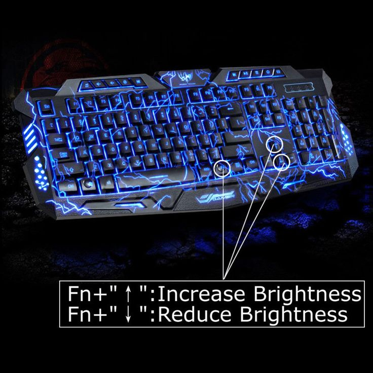LED backlit Gaming Keyboard, 3 Colors Illuminated USB Multimedia PC Gaming keyboard