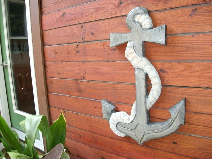 Anchor and rope carving one piece chainsaw wood
