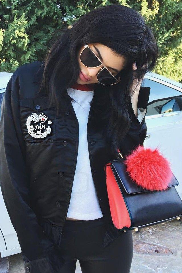 Kylie Jenner wearing  Sorella Shiba Sunglasses, Les Petits Joueurs Leather Mini Alex Bag