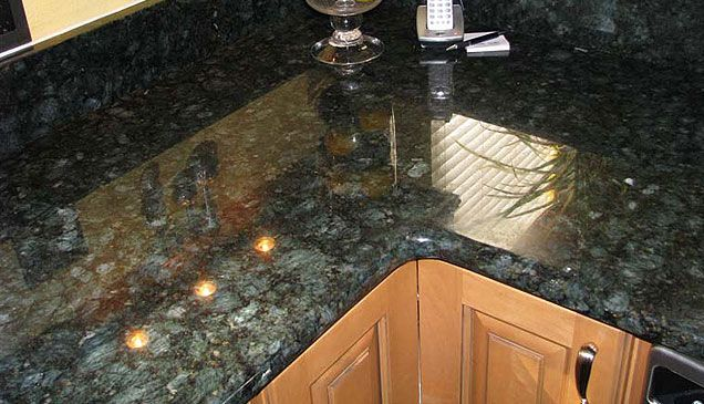 Peacock Green granite countertops This combo is similar to current kitchen