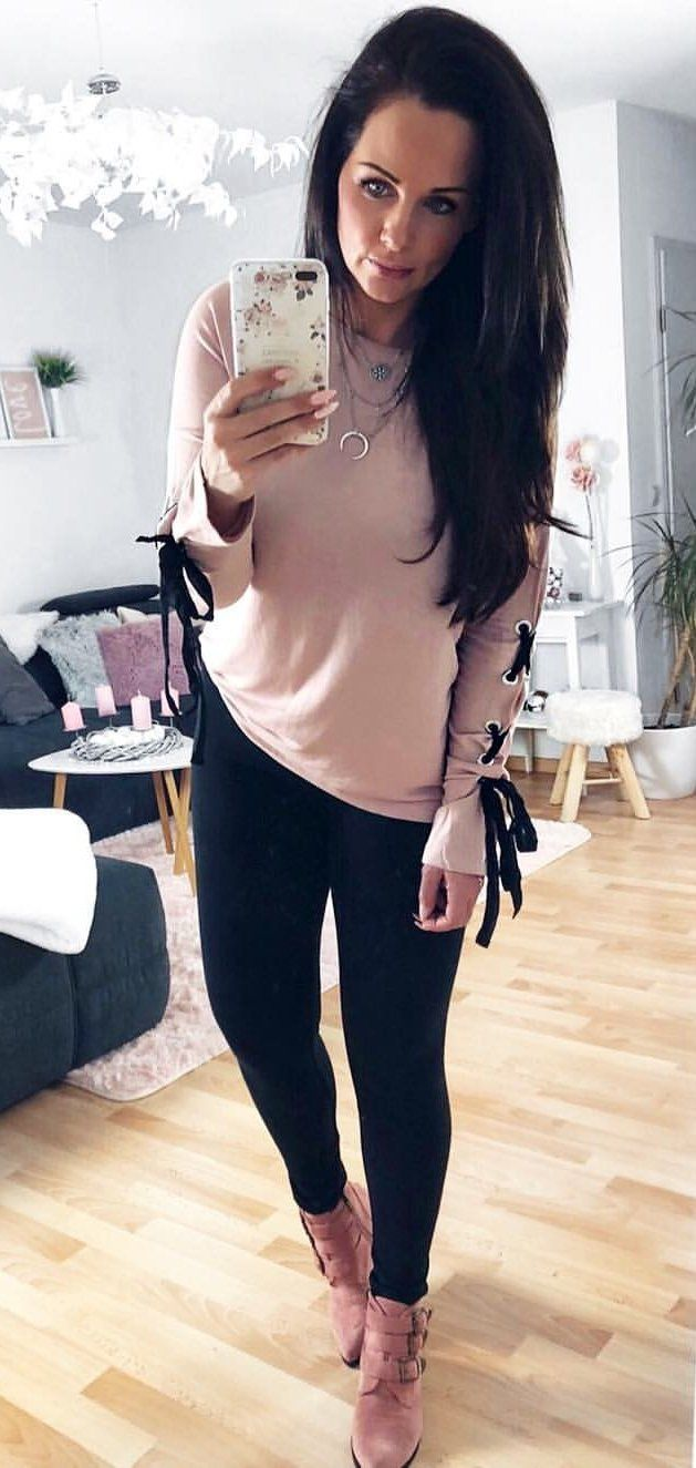 #winter #outfits beige long-sleeve top, black leggings, and brown shoes outfit
