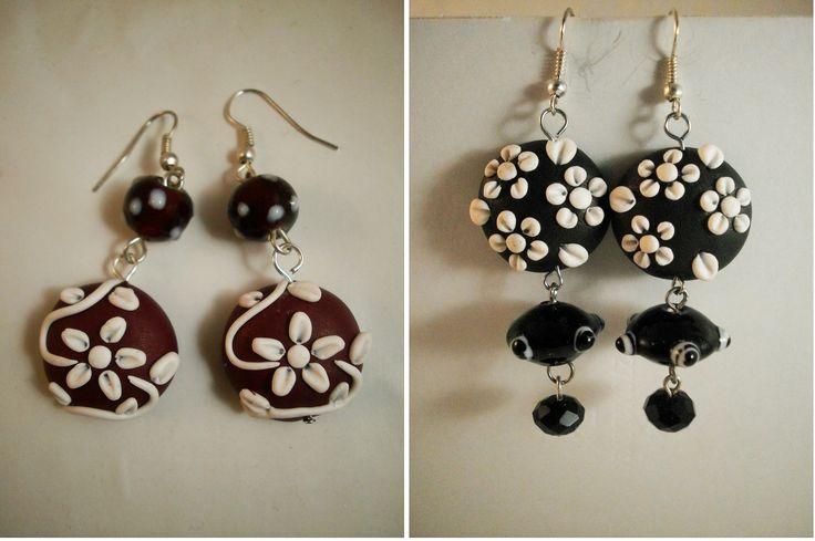 fimo polymer clay orecchini earrings fiori