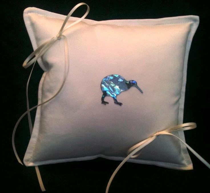 Ivory ring pillow with paua shell laminate Kiwi Bird