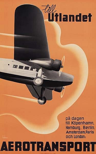 Poster by Anders Beckman (1907-1967), 1930, Till Utlandet Aerotransport. (Swedish)