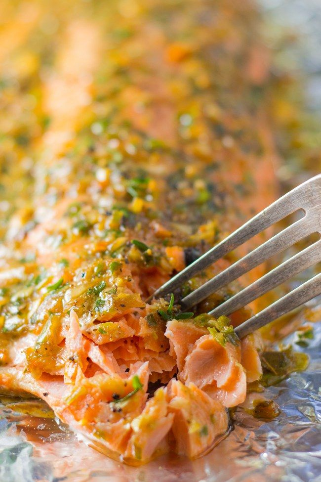 This baked jerk salmon was moist and flaky and flavor packed. It is done in 20 minutes and because it is cooked in foil, clean up is a breeze. Make it now.