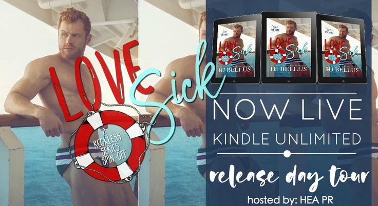"""NOW LIVE ❤ ➜ #LoveSick, a #RomanticComedy by USA Today Best Selling Author HJ Bellus & 10 of her Street Team Members!   🌊 """"The Waves of Love Can Make You Sick"""" 🌊   A Reckless Series Spin-off   AVAILABLE ON #AMAZON & #KU!  🌊 Kindle US: http://amzn.to/2gSZBRH 🌊 Paperback: http://amzn.to/2ujcclJ 🌊 Kindle UK: http://amzn.to/2txLNSH 🌊 Kindle CA: http://amzn.to/2uk7Rx4 🌊 Kindle AU: http://amzn.to/2tORQO4   Memphis Love knows three things.  Money Sex Women  As long as it has a pond for him…"""