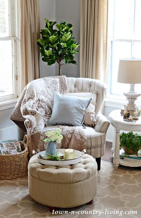 Cozy Time Out Corner. Tufted Chair and Ottoman
