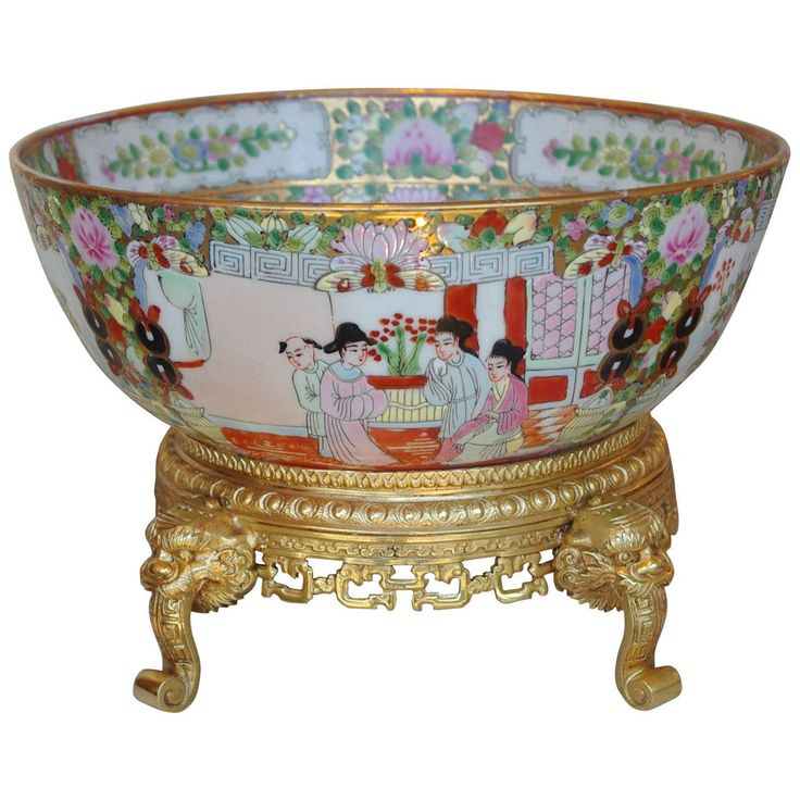 Canton Porcelain Punch Bowl Standing on Chiseled Gilt, circa 1880 | 1stdibs.com