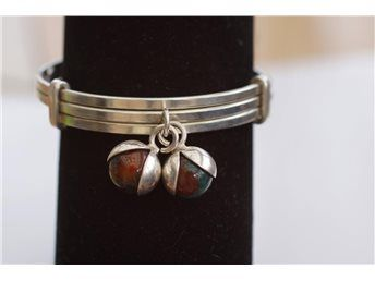 Armband / Armring i äkta silver med agater, Elis Kauppi....