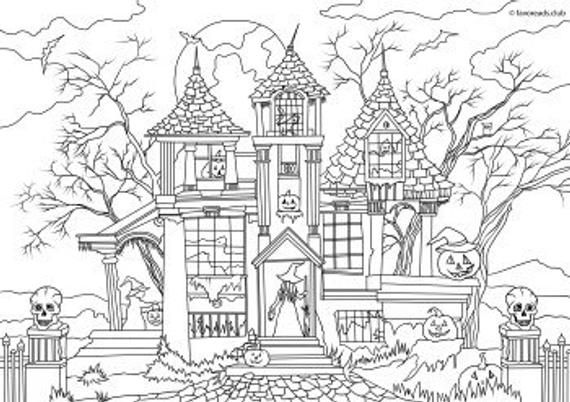 Haunted House - Printable Adult Coloring Page from ...