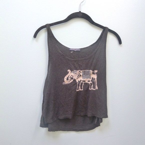 Brandy Melville Elephant Dark Grey Tank Brandy Melville Gray Soft Tank Top, Slightly longer than a crop top.  Elephant embroidery.  Bought in Madrid. Brandy Melville Tops Tank Tops