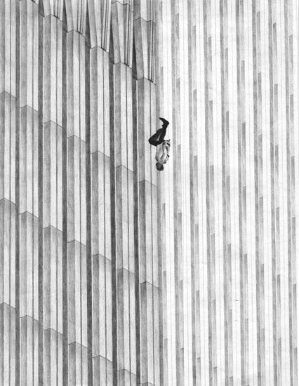 World Trade Center Jumper, (The falling Man) people were blown out, fell trying to get air, or made the decision to to jump other than being burn't to death. they fell at 150 mph, for 10 second before dying on impact.