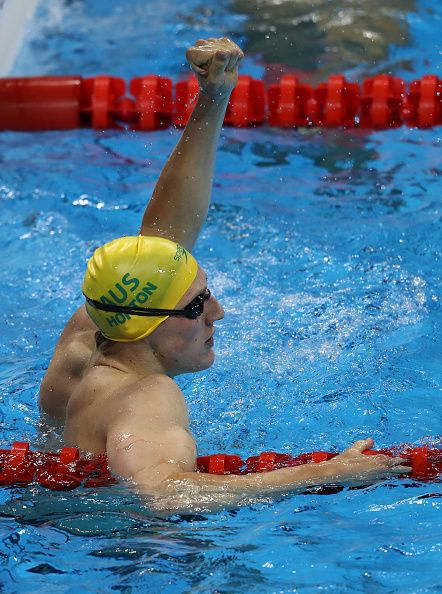 #RIO2016 - Best of Day 1 - Mack Horton of Australia celebrates winning gold in the Final of the Men's 400m Freestyle on Day 1 of the Rio 2016 Olympic Games at the Olympic...