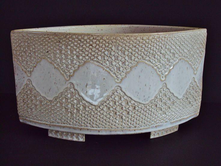 Big stoneware vase with white glaze