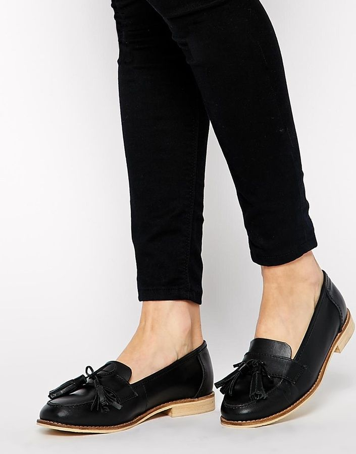 $64, Black Leather Tassel Loafers: Asos Collection Mears Leather Loafers. Sold by Asos. Click for more info: https://lookastic.com/women/shop_items/157456/redirect