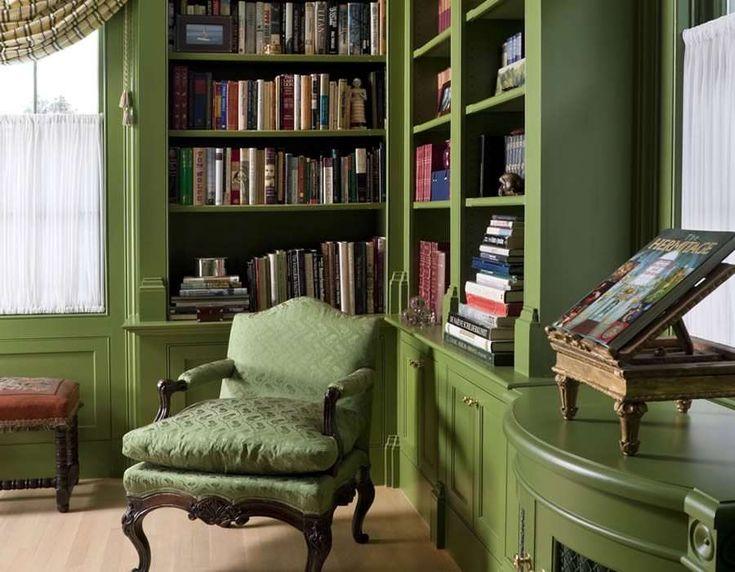 Evler İçin Kütüphane Dekorasyonları - Oturma grubu ve üstte kütüphane