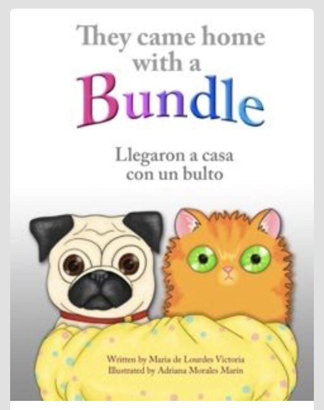 """Otra historia bilingüe acerca de un perro y un gato que se preguntaban """"que era ese apestoso, tembloroso bulto que mamá y papá habían traído a casa?"""""""