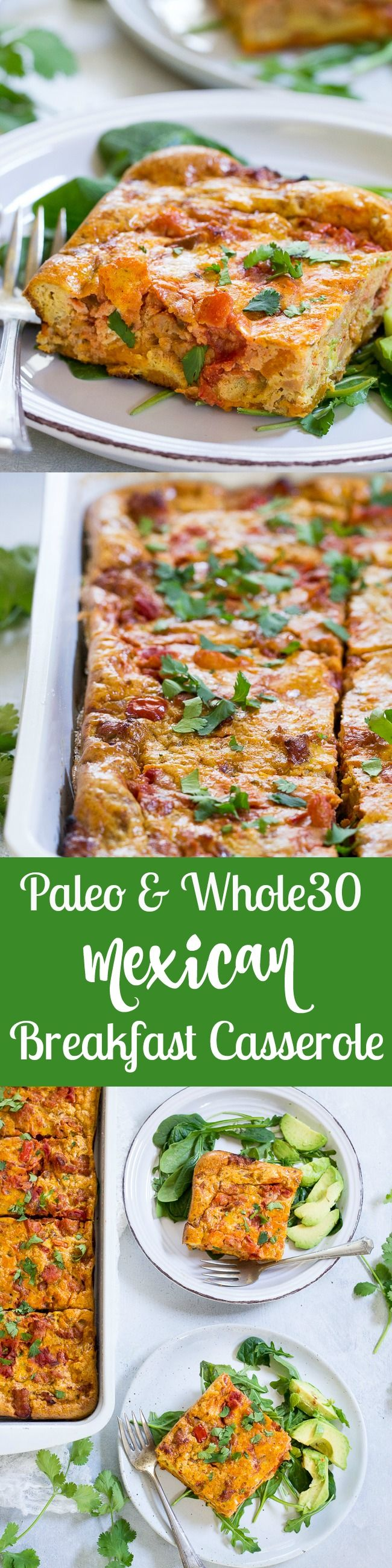 This Paleo and Whole30 Mexican Breakfast Casserole has a sweet potato crust and is packed with sausage, peppers and onions plus the perfect spices for an anytime-recipe that everyone will love – even kids!  Great to make ahead of time, too.  Gluten free, dairy free.