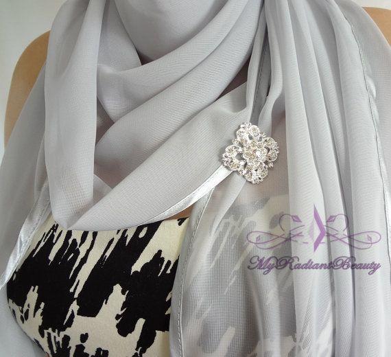 Chiffon Bridal Wrap Stole Silver Chiffon Shawl Silk Felt