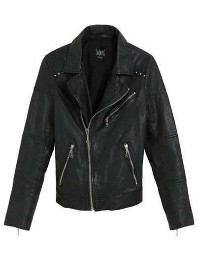 Swildens Largo leather jacket - black - Short black super soft leather jacket with metal stud effect. Product code: 2H14LARGO Fabric: leather Wash: