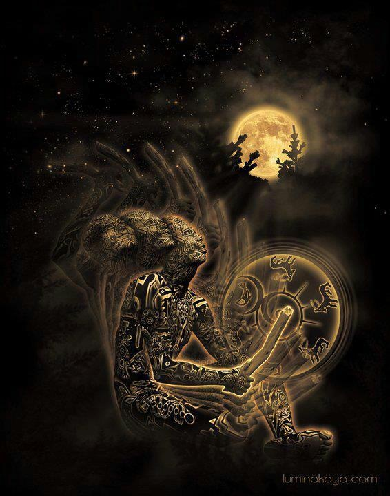Luna y tambor ceremonial