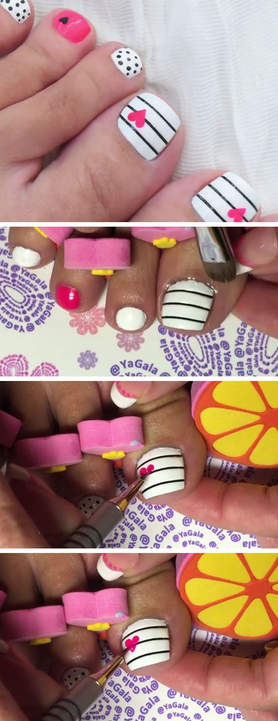 Love Heart Toe Nails   18 DIY Toe Nail Designs for Summer Beach   Easy Toenail Art Designs for Beginners