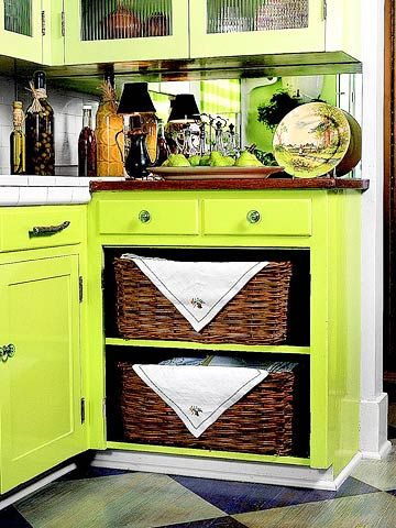 Make Wicker-Basket Drawers  For an unexpected and functional break in a wall of cabinetry, remove the doors and let wicker baskets substitute for drawers. Choose matching baskets and use them to store anything from linens to root vegetables.