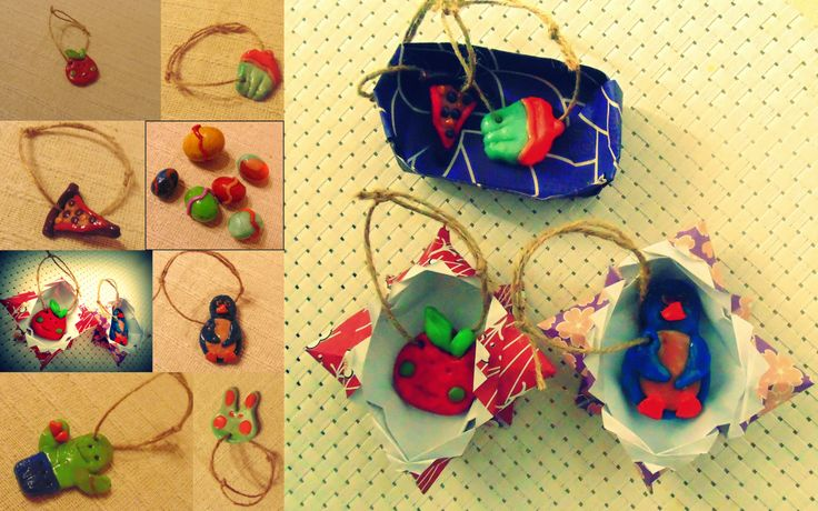 Party giveaways for kids, made of cernit clay in cute origami boxes!
