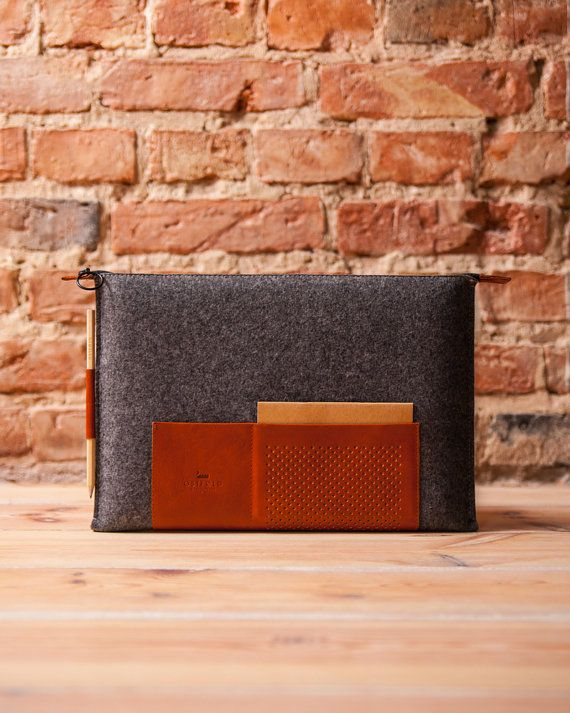 """Retro wool felt and leather case for MacBook 13' Retina and Air 13"""" OSTFOLD"""