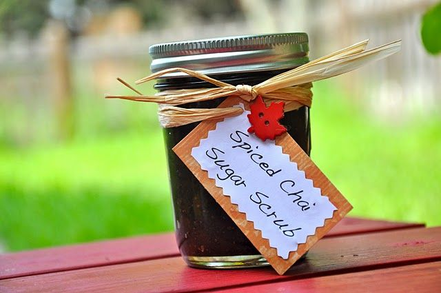 Spiced Chai Sugar Scrub: Combine...  1 cup brown sugar  4 spiced chai tea bags  1/3 cup mineral oil  2 T. honey  1 t. cinnamon