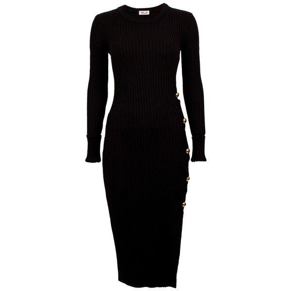 CARMELITA Black Knit Dress ($365) ❤ liked on Polyvore featuring dresses, knit dress, rib dress, slit dress, slim fit dress and ribbed dress