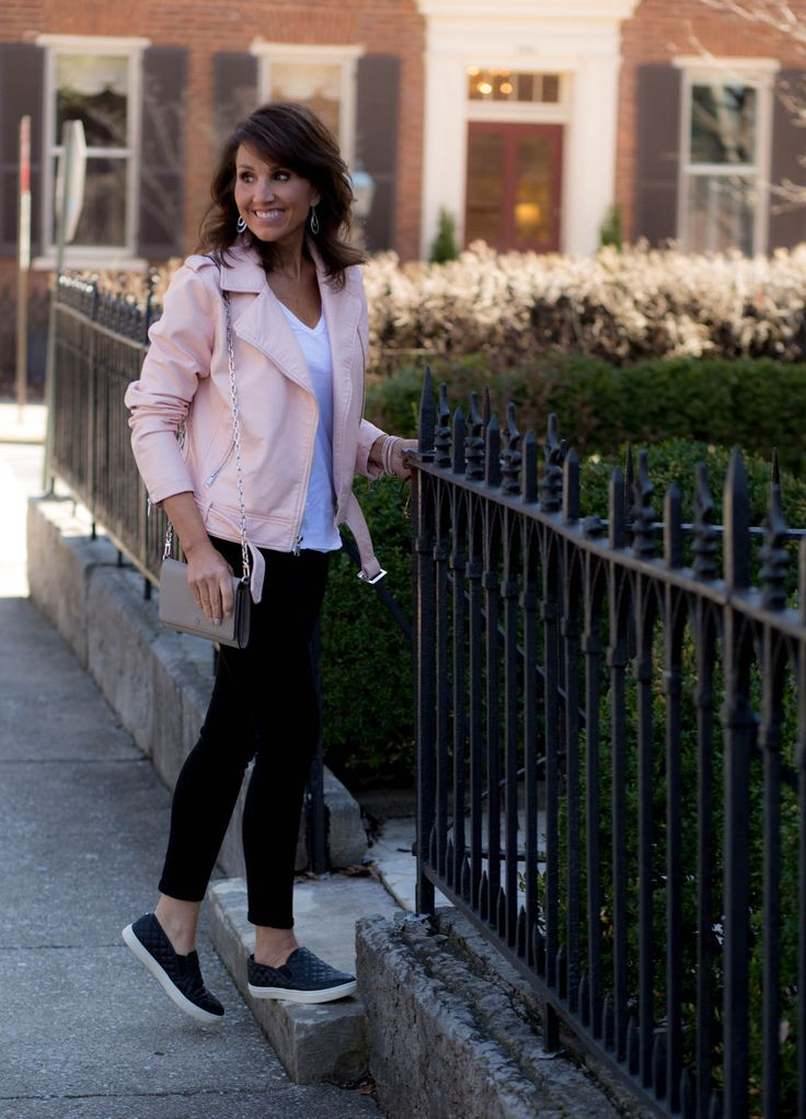 Transition to Spring with a Pink Moto Jacket  I love this look but leather moto jackets just look awkward on me.