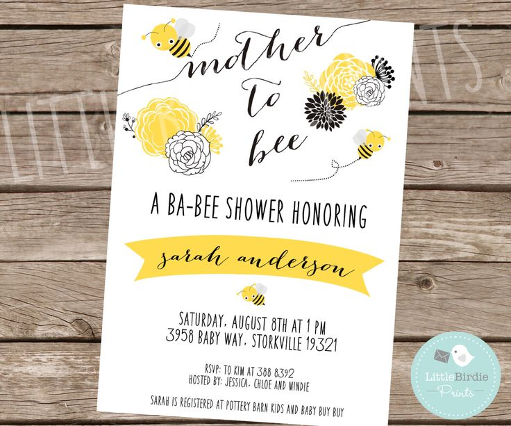 BEE BABY SHOWER Invitation Mother to Bee Invitation Black Yellow White Gender Neutral What will it Bee Printable by littlebirdieprints on Etsy https://www.etsy.com/listing/194952726/bee-baby-shower-invitation-mother-to-bee