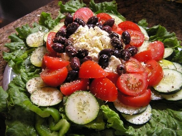 Original Greek Salad Recipe with Feta Cheese and Kalamata Olives!